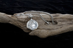 Sterling Silver Large Greek Coin Necklace