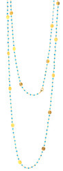 "48"" Turquoise Gemstone Chain with Brushed Gold Disk"