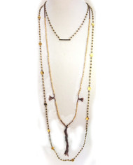 """Our Black Label, one of a kind, Natural Pave Diamond Bar Necklace (20"""") featuring a 1"""" charm on a long natural pyrite chain is perfectly paired with our Long Gemstone Pyrite Necklace (48"""") and 24K Gold Vermeil Beaded Tassel Necklace. Each piece sold separately would total $324."""
