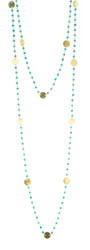 "48"" Turquoise chain with large brushed gold disk"