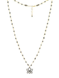 Pave Rose Cut Diamond Lotus and Pyrite Necklace