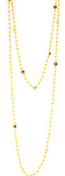 "48"" golden quartz gemstone chain with brushed gold disk"