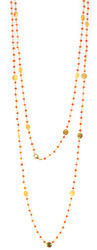 "48"" Carnelian Gemstone Chain with Brushed Gold Disk"