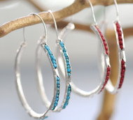 Silver Peek A Boo Gemstone Hoops