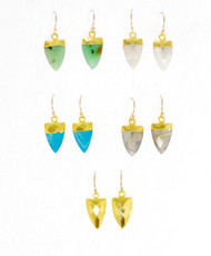 Gemstone Shield Earrings