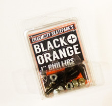 "This is an official pack of 8 Charmcity Skatepark Black and Orange 1"" Phillips Head Mounting Hardware. This pack includes 2 Orange and 6 Black Bolts.Place the 2 Orange Bolts in the front truck to help identify the Nose from the Tail when riding.(PARENTS: Most boards shapes are close to symmetrical. So when looking down with normal black griptape it sometimes becomes difficult to tell what direction the board is facing!)"