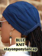 STAY ON PONYTAIL CAP FOR LOCS (24 inch circumference head size) - BLUE KNIT