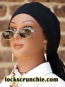 STAY ON PONYTAIL CAP SOC to fit 24 inch circumference head- BLACK (knit fabric) with black trim on the back