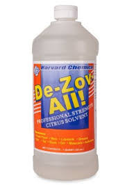 De-Zov-All Biodegradable Citrus Based Solvent  De-Zov-All is a safe, citrus solvent-based product for use on all types of surfaces to instantly remove ink, tar, asphalt, gum, wax, grease, soap scum, adhesives, and much more. This unique formulation can also be used in sinks, grease traps, and drains to prevent or remove grease buildup or bad odors from solid waste. This product is specifically designed to be versatile in application and allow for multiple areas of use such as residential, commercial, industrial, and institutional facilities. De-Zov-All is completely organic and is a great alternative to harsh solvent cleaners and is environmentally friendly. Available in Quarts or Gallons.