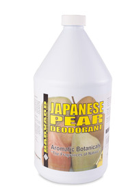 Japenese Pear  This odor control product is water soluble and may be added to cleaning solutions or used as an after-spray treatment. It is a unique blend of water soluble fragrances designed to provide a light pleasant smell wherever needed.