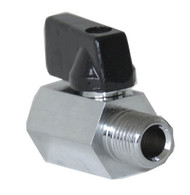 "BALL VALVE, MINI HEX CHROME 1/4"" MXF   • Chrome Plated M X F 1/4"""