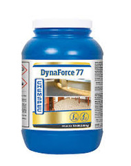 DynaForce 77 Product Description Quick-dissolving, high performance powder extraction emulsifier leaves virtually no residue. It combines the latest in proprietary surfactant technology with industry-exclusive solvent boosters and a neutralizing odor counteractant.   Available Sizes • 6.5 lbs. / 2.7 kg jar (DF4G - Case of 4) • 40 lbs. / 18.1 kg pail (DFBK - Single) • 365 lbs. / 165.6 kg drum (DFDR - Single) Product Specifications • Form: Powder • RTU pH: 10.96 Applications Carpet Cleaning with Rotary Tool Carpet Cleaning with Wand