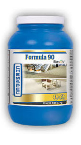 Formula 90 with Biosolv Product Description Economical powdered formulation outcleans competitive products on all carpet types. Low-foaming formulation includes corrosion inhibitors to protect extraction equipment. Boosted with Biosolv for extra cleaning power.  Available Sizes • 1.5 lb. / 0.7 kg jar (PF90B - Case of 6) • 6 lb. / 2.7 kg jar (PF9024 - Case of 4) • 22 lb. / 10 kg pail (PF9022 - Available in the UK only) • 50 lb. / 22.7 kg pail (PF90BK) Product Specifications • Form: Powdered concentrate • RTU pH: 10.62