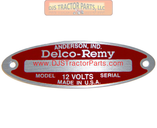 Blank Starter / Generator Tag for 12-V Delco Remy with 2 Rivets - AB-514D