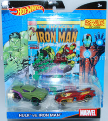 Hot Wheels Marvel Comic Hero 2-Pk: Hulk vs Iron Man with Mini Comic