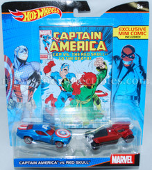 Hot Wheels Marvel Comic Hero 2-Pk: Captain America vs Red Skull with Mini Comic