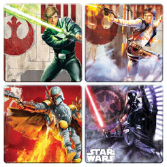 Star Wars 4 pc. Action Shot Wood Coaster Set
