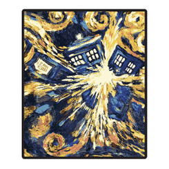 Doctor Who Van Gogh Exploding Tardis Throw Blanket