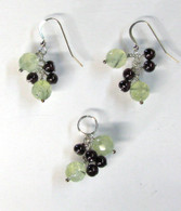 """Holly"" Green & Red Garnet - Pendant & Earring Set"