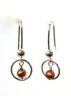 Copper Pearl Ring Earrings