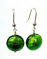 Green Murano Disc Earrings