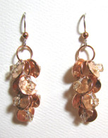 Hammered Copper Cluster Earrings