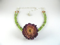Real Ceramic Flower Necklace with Peridot