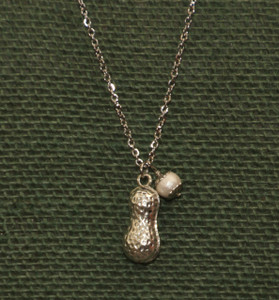 "Long Peanut Necklace - 26"" chain"