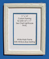 "8-1/2"" x 11"" Prints Custom Framed in 11"" x 14"" White Washed Wood Frame."