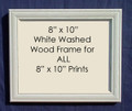 "8"" x 10"" Prints Custom Framed in White Washed Wood."