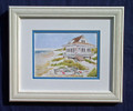 Beach Cottage & Boat Custom Framed Print $19.95