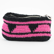 Black and Hot Pink Triangle with Stripes Pattern Four Oil Pouch with Zipper