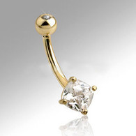 GDN03SQ GOLD BELLYRING
