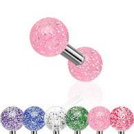 JAL2 Tragus/Cartilage Barbell with Ultra Glitter UV Ball