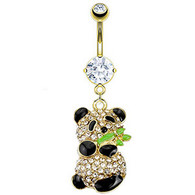 GDPN12478  Gold Plated Panda Holding Bamboo BellyRing