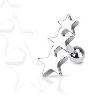 JA1016 316L Surgical Steel Three Stars Tragus/Cartilage Piercing Stud