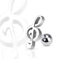 JA1015 316L Surgical Steel Treble Clef Music Note Tragus/Cartilage Piercing Stud