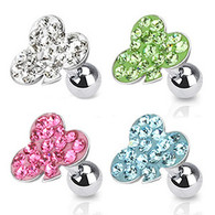 JA1009 316L Surgical Steel Tragus/Cartilage Barbell with Multi Paved Clover Top