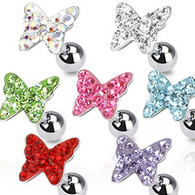 JA1004 316L Surgical Steel Tragus/Cartilage Barbell with Multi Paved Butterfly Top