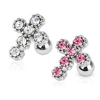 JD-09 Tragus/Cartilage Barbell with Multi Paved Cross Top