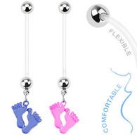 NPG-1003 Bio Flex Pregnancy Navel Ring with Epoxy Baby Feet Dangle