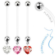 NPG-1007 Bio Flex Pregnancy Navel Ring with Heart Gem Dangle