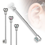 BI08 Heart Key with CZs Industrial Barbell
