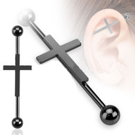 BSP-5974K-35 Black Plated Cross Industrial Barbell