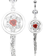 NAL13264 Flower CZs with Single Rose Navel Ring