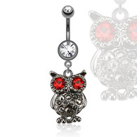 NAL13429 Owl with Gemmed Eyes Dangle Navel Ring