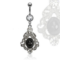 NAL13432 Black Stone and CZs Dangle Navel Ring