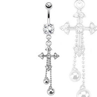 NAL13454 Cross Chains Dangle Navel Ring