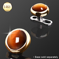 14KT Gold Round Dermal Tiger Eye Stone DAG004