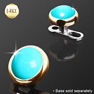 14KT Gold Round Dermal Turquoise Stone DAG006